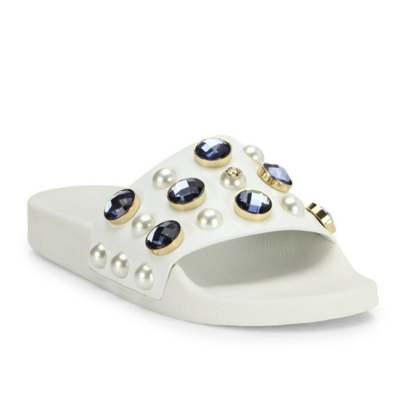 e5b2473fdbcdc TORY BURCH Vail leather slide sandals jewels white